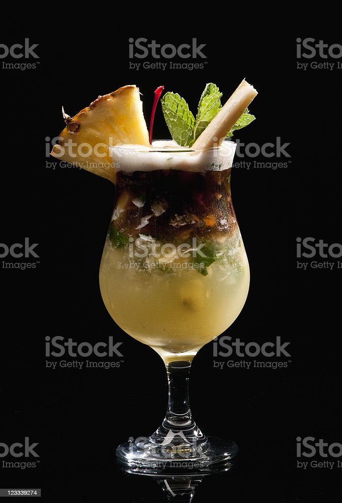 Pineapple and coconut mojito stock photo