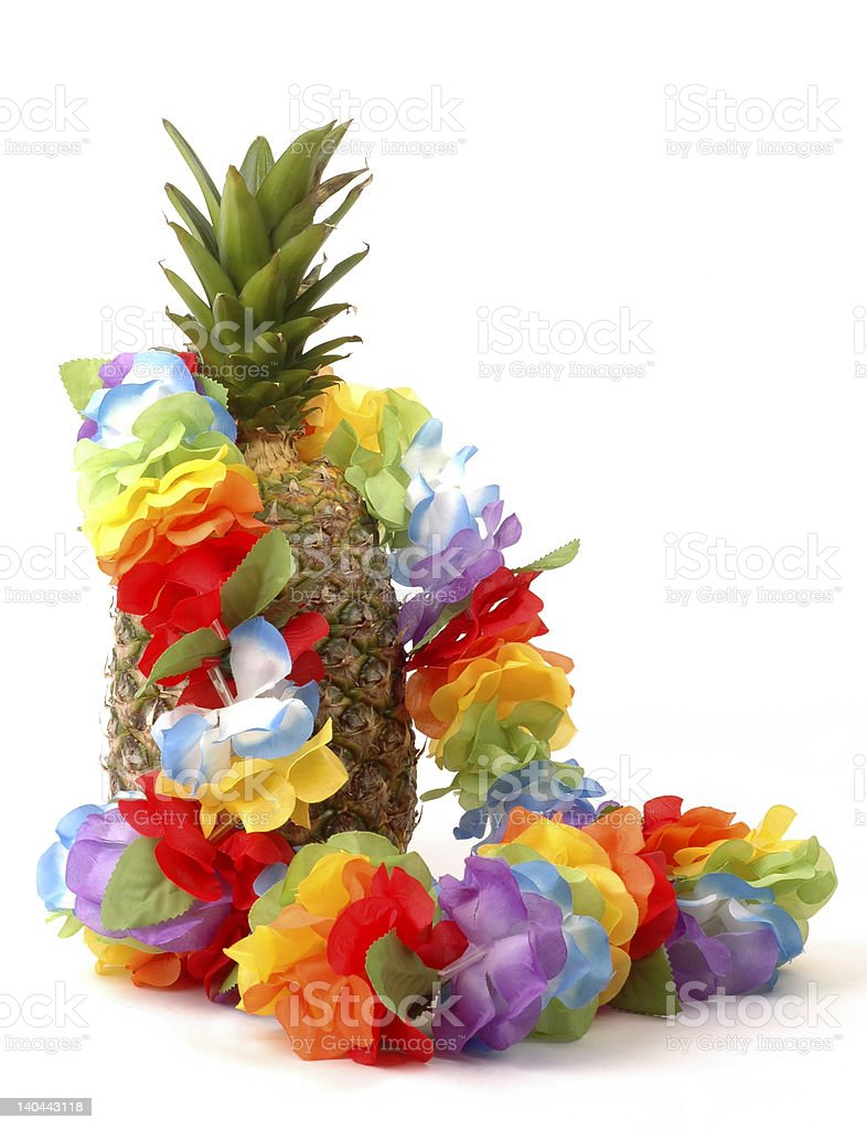 Pineapple and Lei stock photo