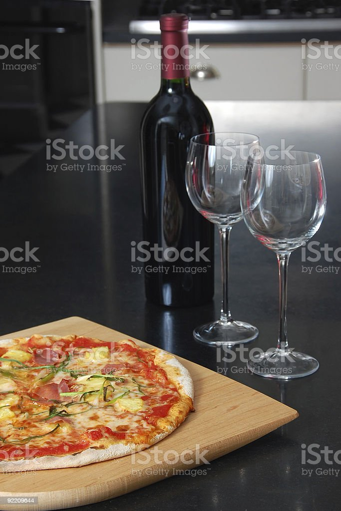 Pineapple and Prosciutto Pizza for Two royalty-free stock photo