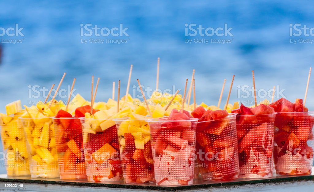 Pineapple and Watermelon cubes with toothpicks stock photo