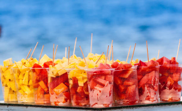 Pineapple and Watermelon cubes with toothpicks