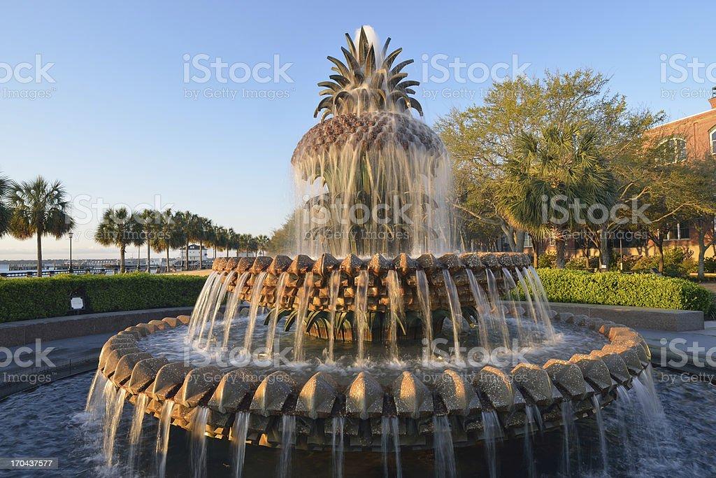 Pineapple Fountain in Charleston at Sunrise stock photo