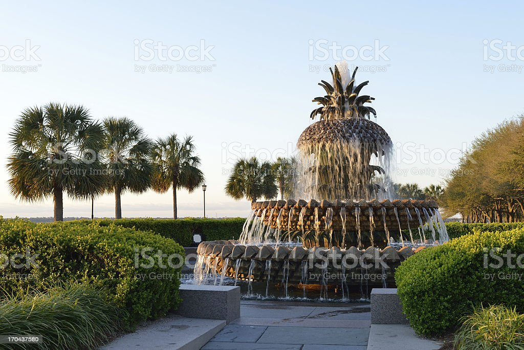 Pineapple Fountain in Waterfront Park stock photo