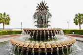 The Pineapple Fountain is located in Charleston Waterfront Park
