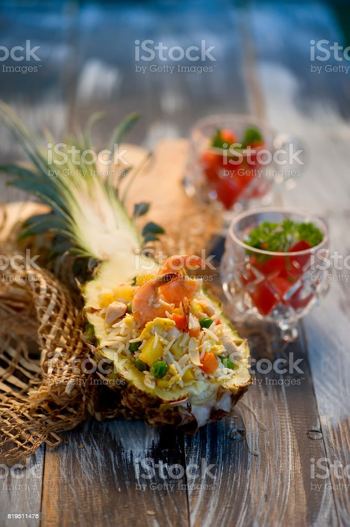 pineapple fried rice / Nasi Goreng Nanas stock photo