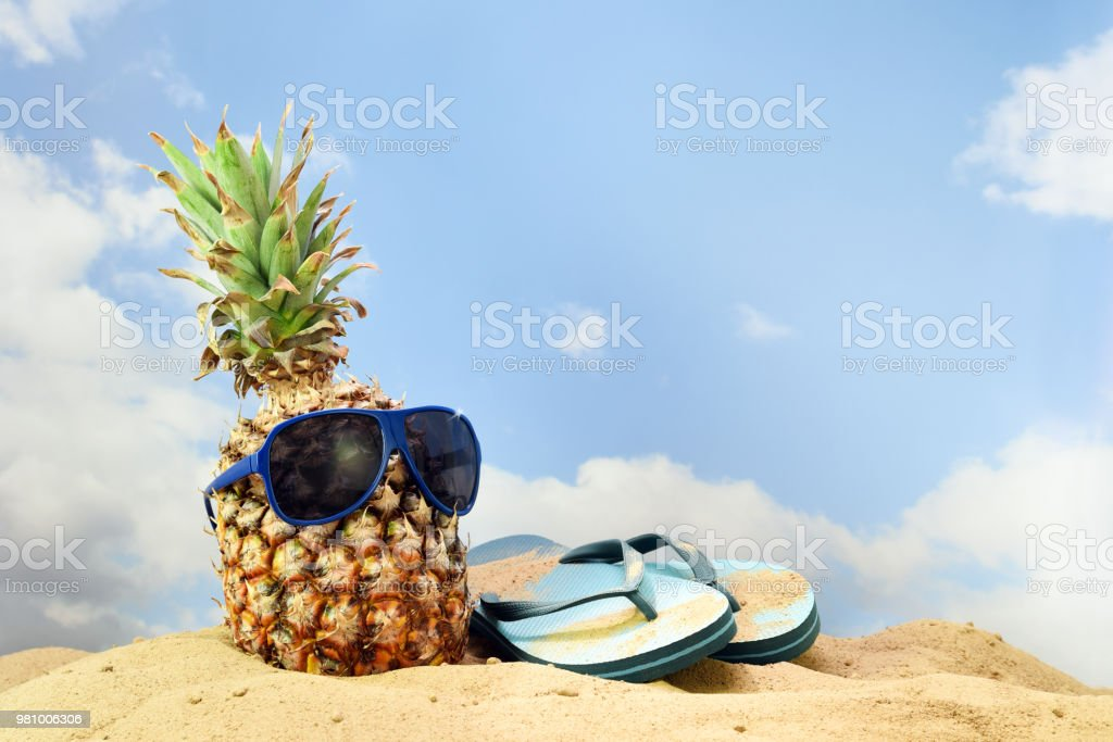 b61dde566c44 Pineapple fruit with sunglasses and flip flop sandals on the beach sand  against a blue sky with clouds
