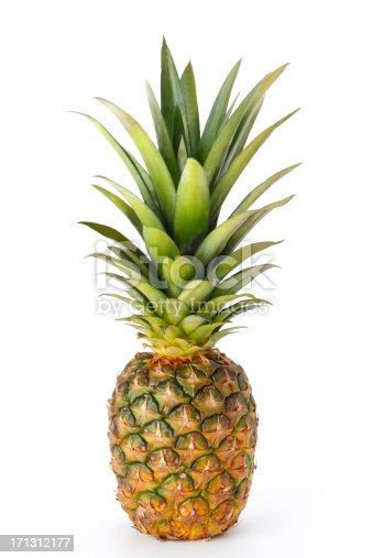 A whole pineapple isolated on a white background.