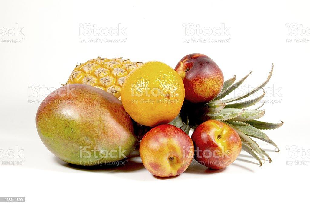 Pineapple Mango Orange And Nectarines On White royalty-free stock photo