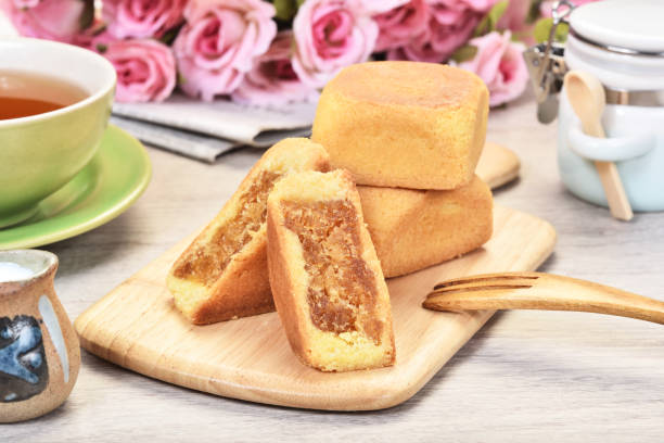 ananas-kuchen kuchen - ananaskuchen stock-fotos und bilder