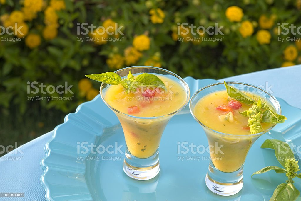 Pineapple & Pepper Gazpacho Summer Fruit Soup, Tropical Spring Picnic Food royalty-free stock photo