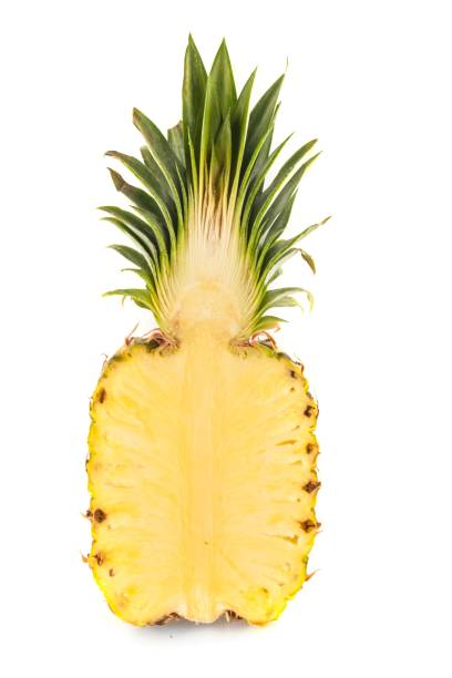 Pineapple. Fresh pineapple sliced in half halved stock pictures, royalty-free photos & images