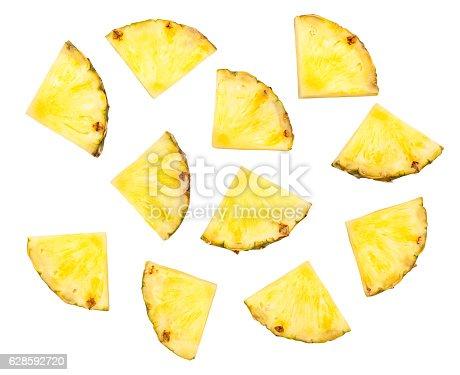 sliced pineapple isolated