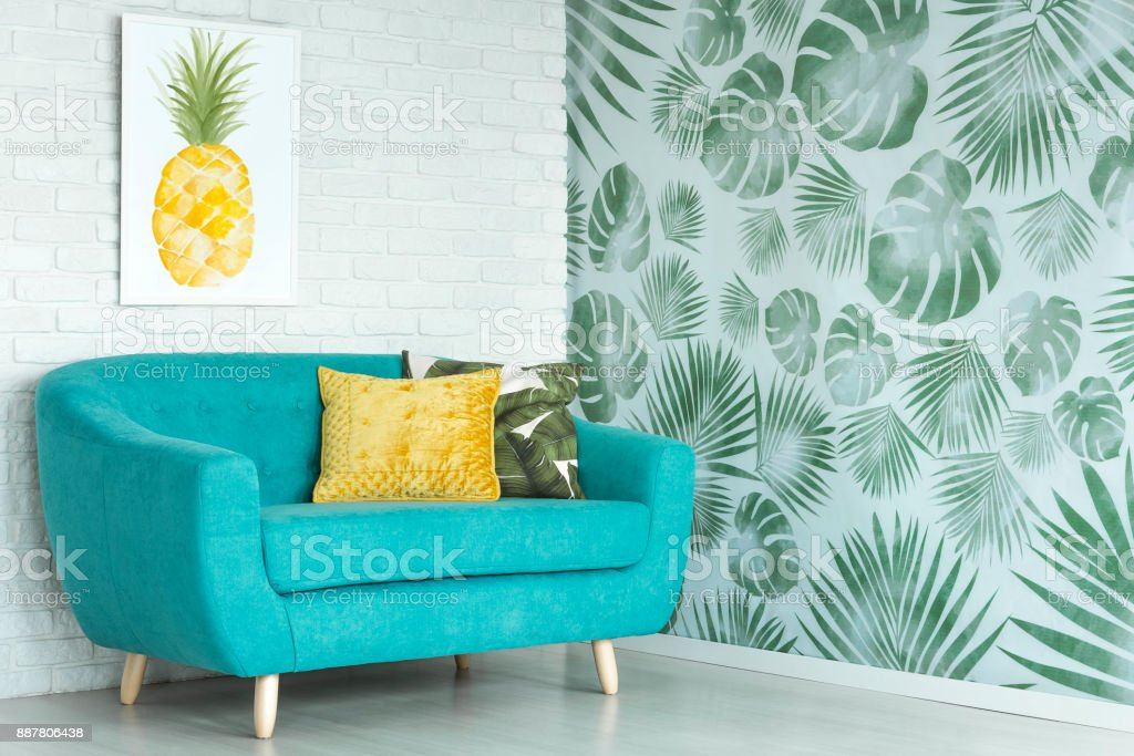 Pineapple poster in living room stock photo