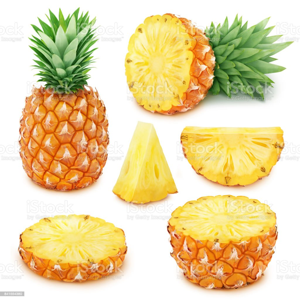 Pineapple set: whole and sliced pineapples. stock photo