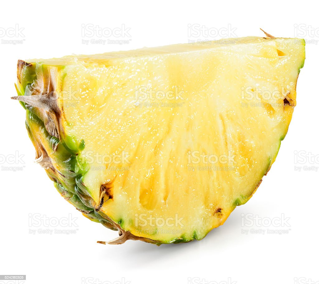 Pineapple slice isolated on white background. stock photo