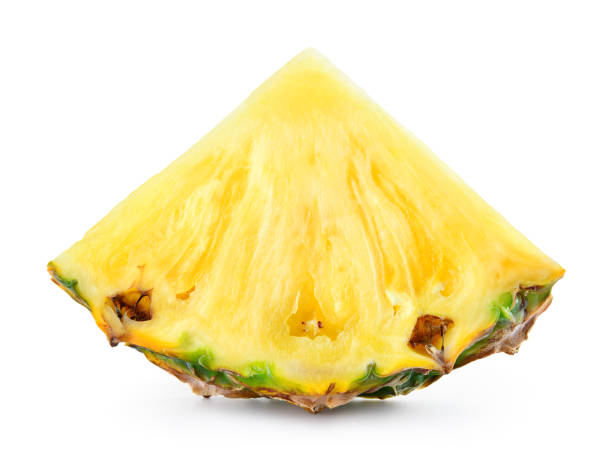 pineapple slice isolated on white background. - ananas zdjęcia i obrazy z banku zdjęć