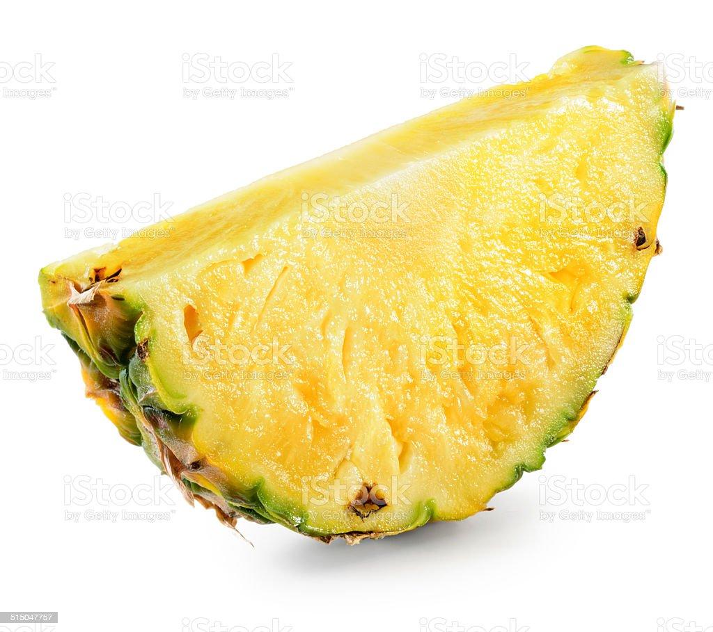 Pineapple slice isolated on white stock photo