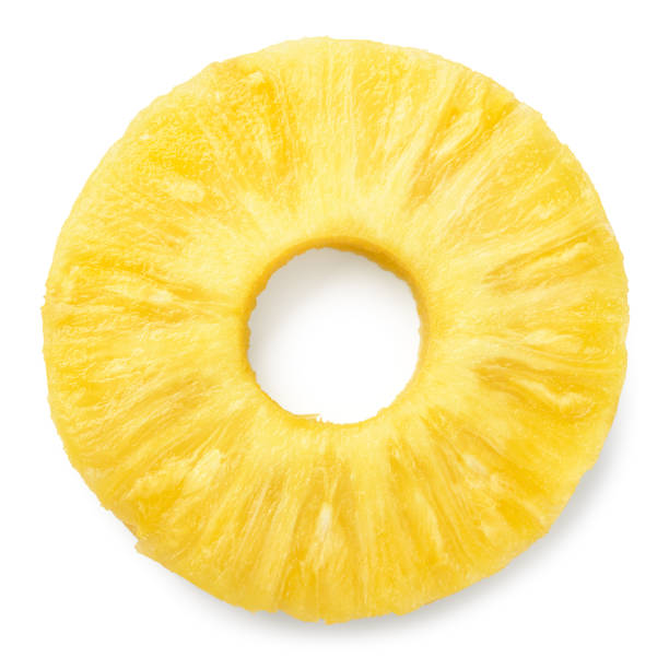 Pineapple slice isolated. Pineapple ring on white. stock photo