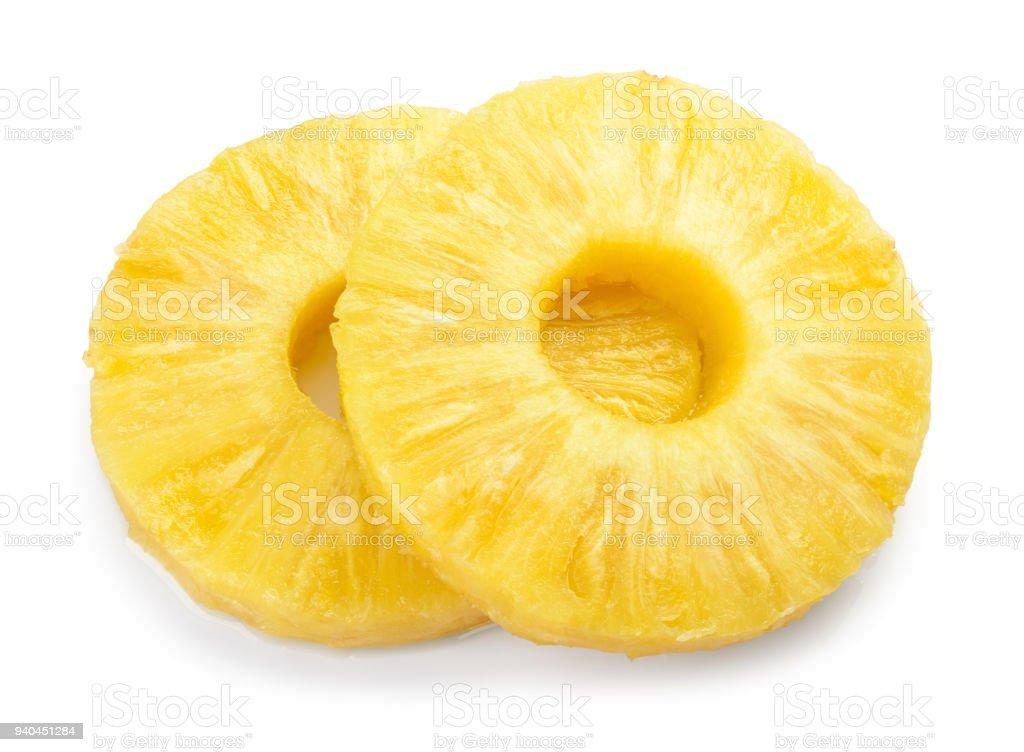 Pineapple slice isolated. Pineapple rings on white. stock photo