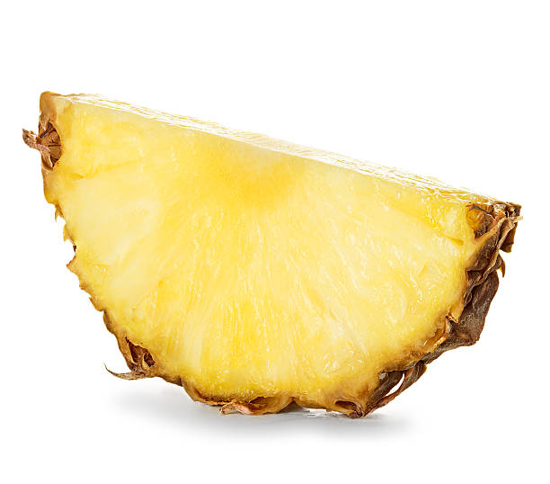 pineapple slices isolated on white background stock photo
