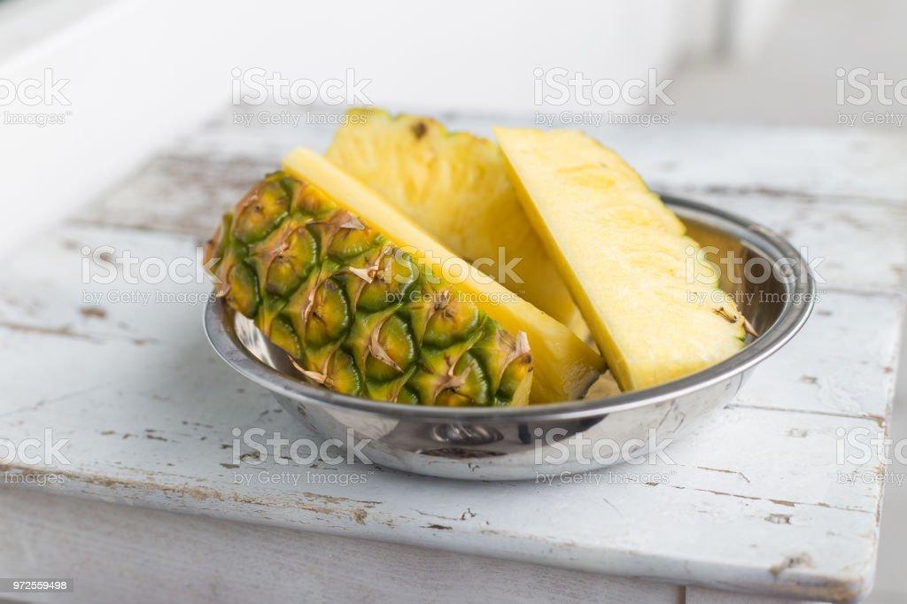 Pineapple slices stock photo