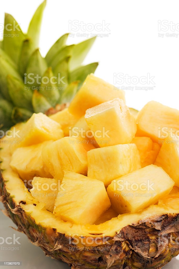 Pineapple Tropical Fruit Cubed, Prepared Fresh, Chopped, Presented in Bowl royalty-free stock photo