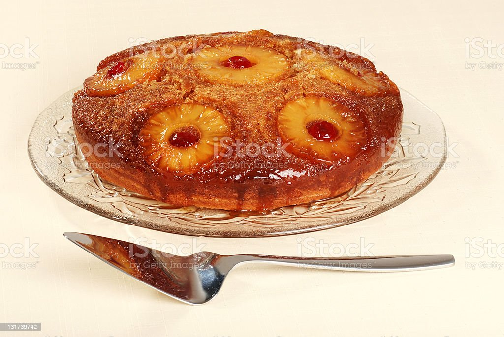 pineapple upside down cake with cherries stock photo