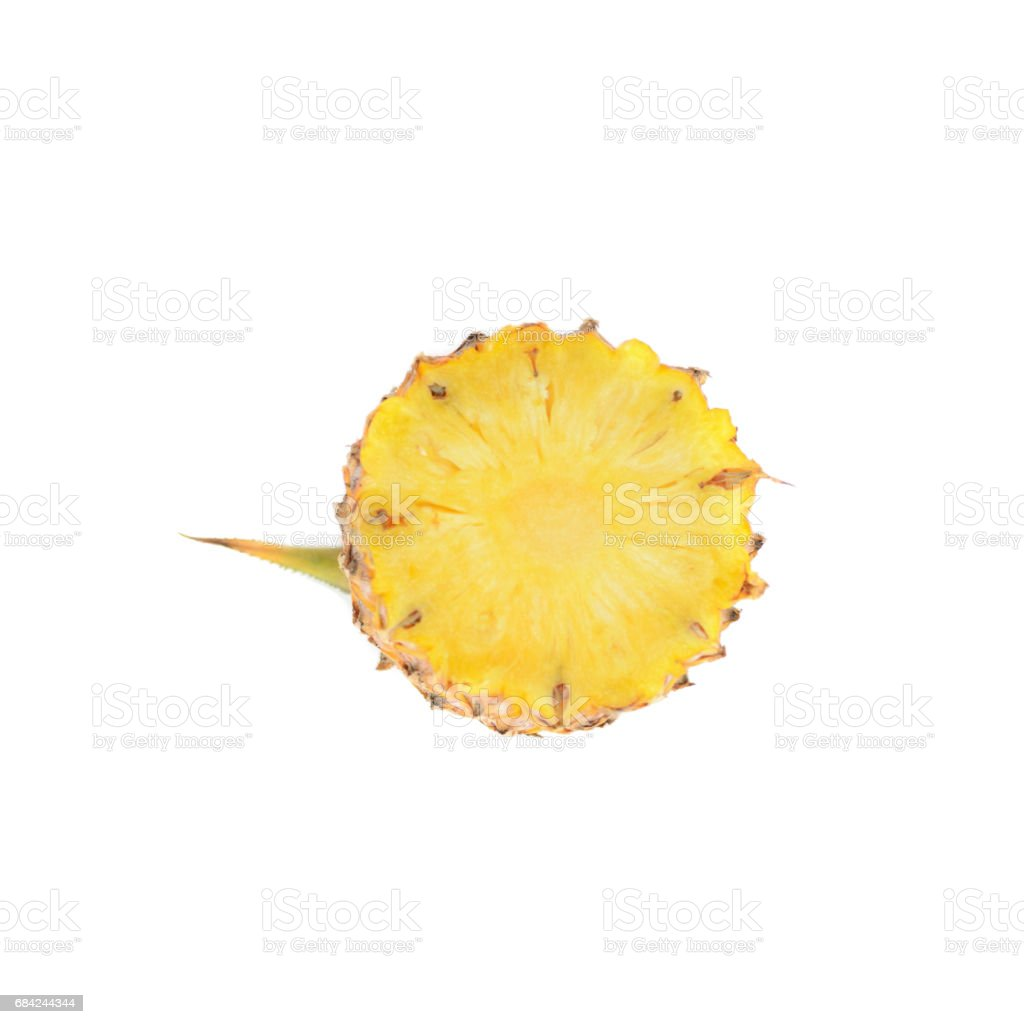 Pineapple with slices isolate on white background, Tropical Fruit. royalty-free stock photo