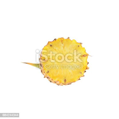 Pineapple With Slices Isolate On White Background Tropical Fruit Stock Photo & More Pictures of Fiber