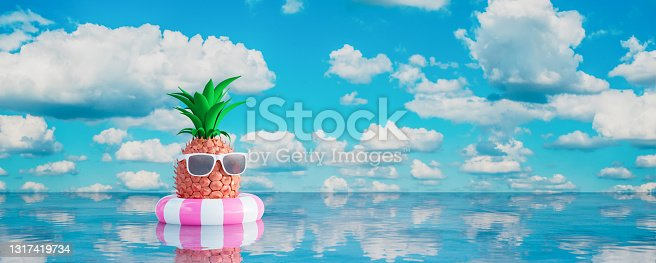 istock Pineapple with sunglasses in lifebuoy on blue sea. Summer holiday concept 3d render 1317419734