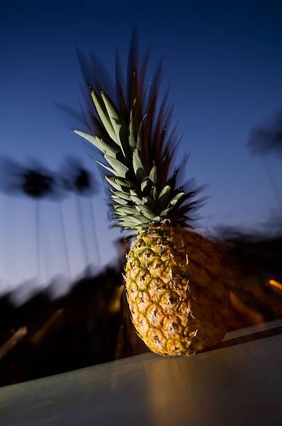ananas mit sonnenuntergang und palmen. - mark tantrum stock-fotos und bilder