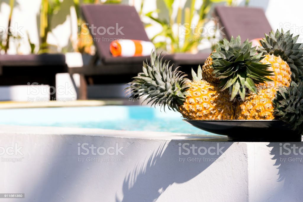 Pineapples by the Pool stock photo