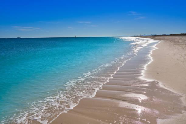 Pinedo beach in Valencia at Mediterranean sea stock photo