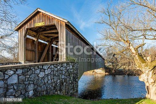 The Pinetown Covered Bridge spans Conestoga Creek in Lancaster County, Pennsylvania.