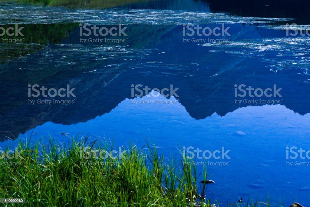 Piney Lake Peak C Mount Powell Reflections in Water stock photo