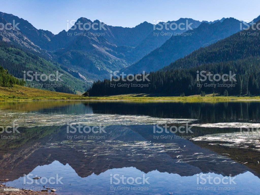 Piney Lake Vail Colorado Summer Mountain Scenic Landscape stock photo