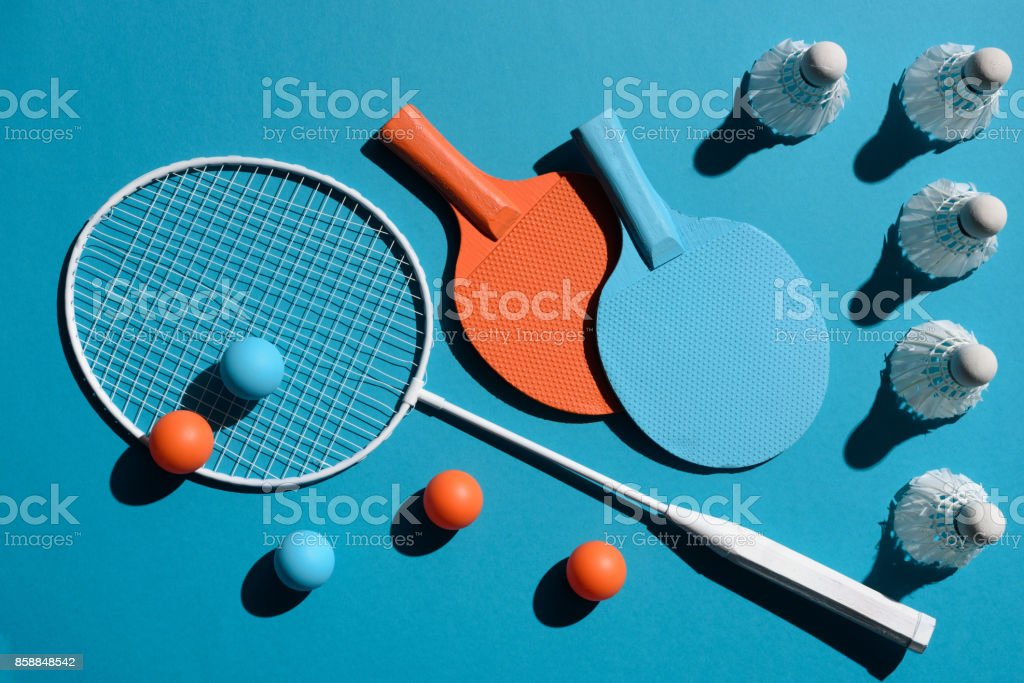 ping pong and badminton equipment stock photo