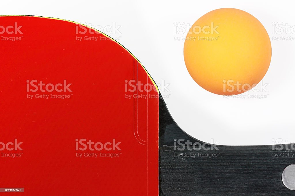 Ping Pong ball and racket royalty-free stock photo