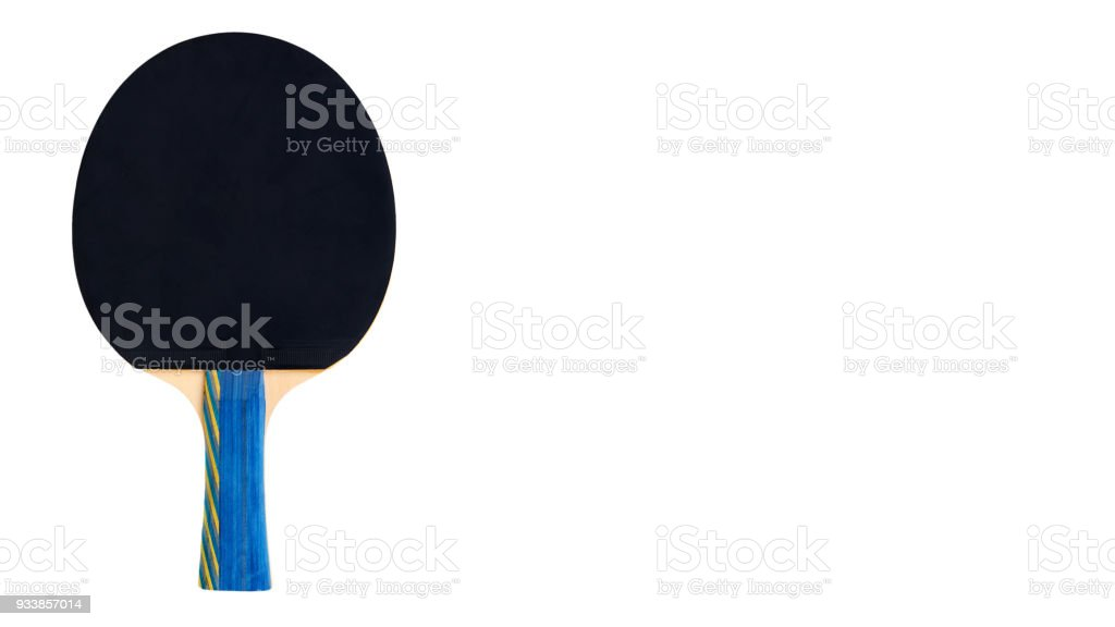 Ping Pong paddles and ball cutout, isolated on white background. copy space, template stock photo