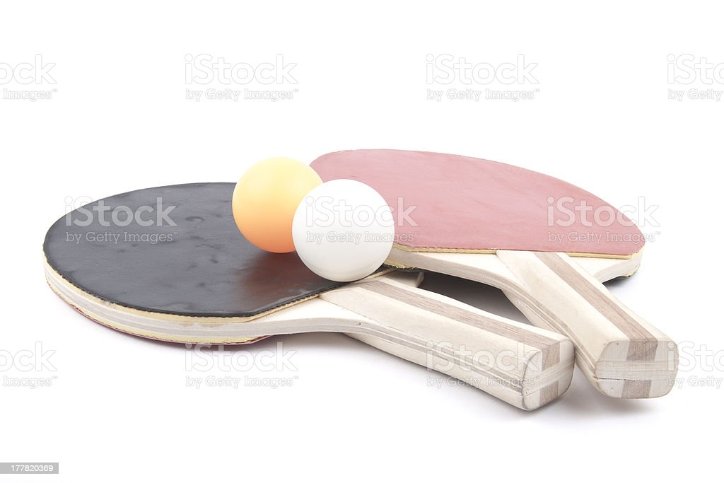 Ping pong paddles and balls royalty-free stock photo