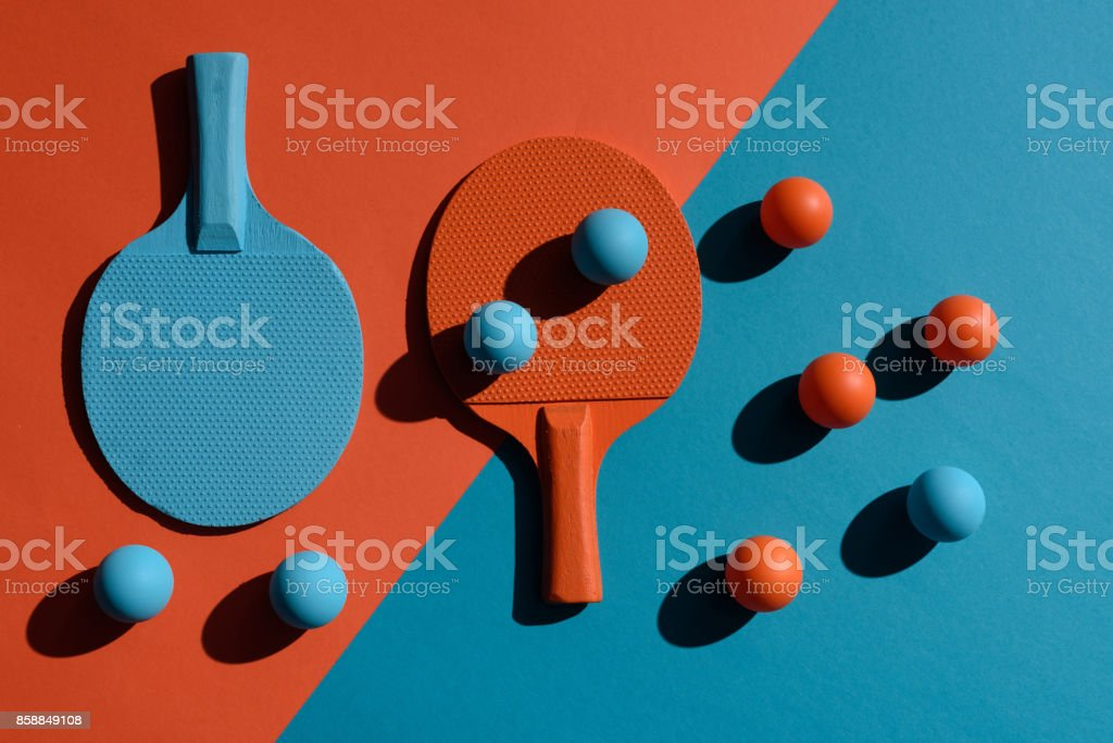 ping pong rackets and balls stock photo