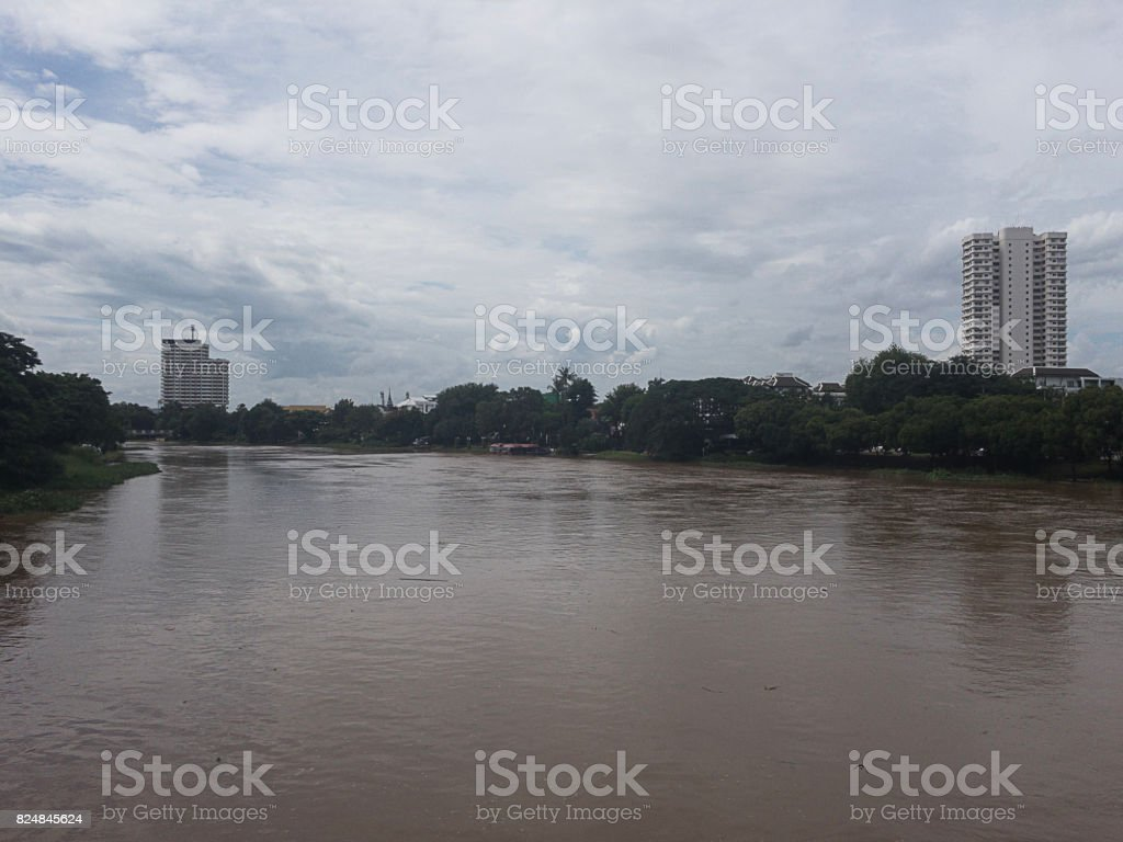 Ping River flows through Chiang Mai. And beautiful sky stock photo