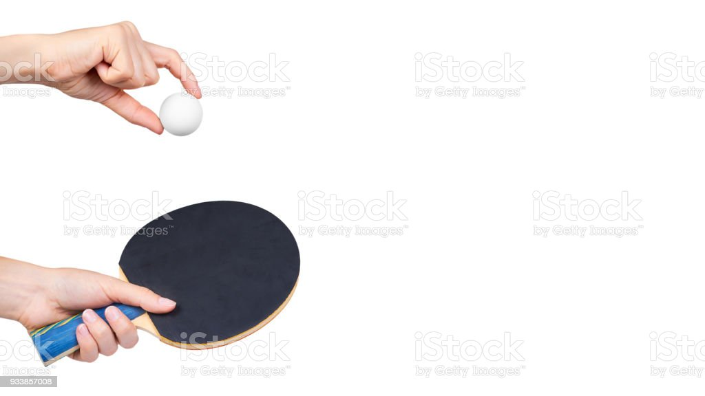 ping-pong in hand isolated on white background. copy space, template stock photo