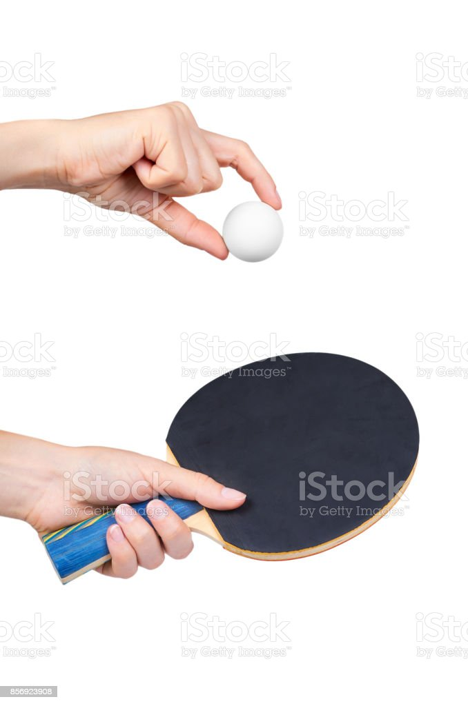 ping-pong in hand isolated on white background stock photo