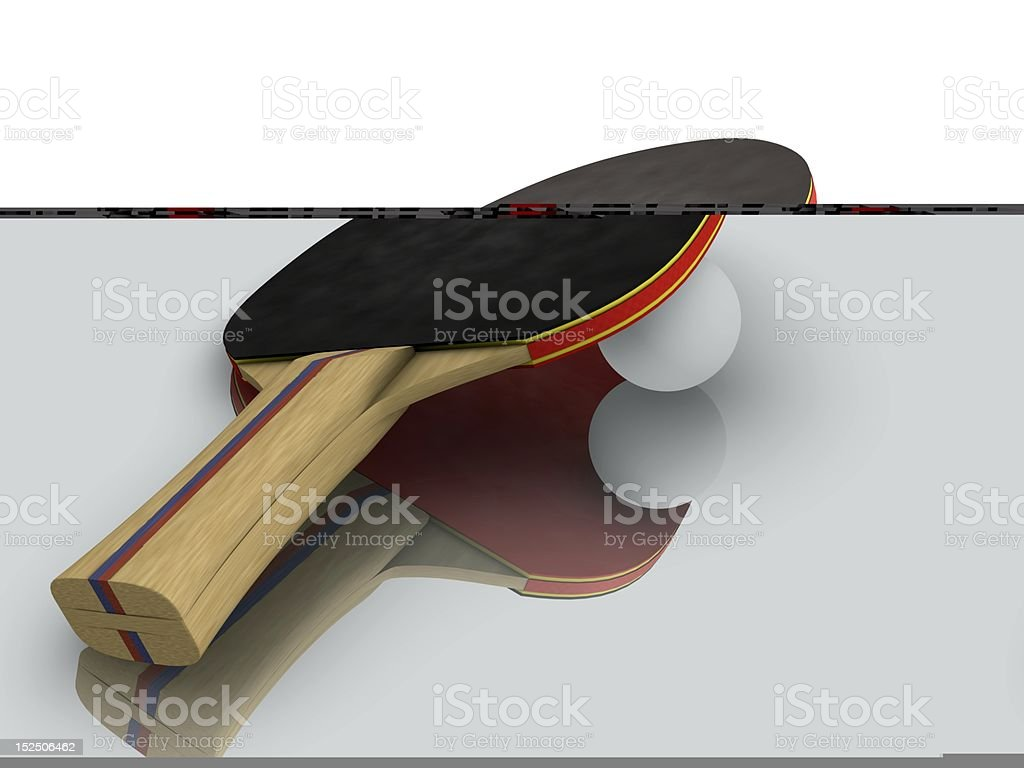 Ping-pong Paddle with Ball Realistic computer generated image of a black and red ping-pong paddle with ball. Black Color Stock Photo