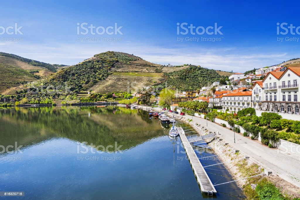 Pinhao town and landscape of Douro river stock photo
