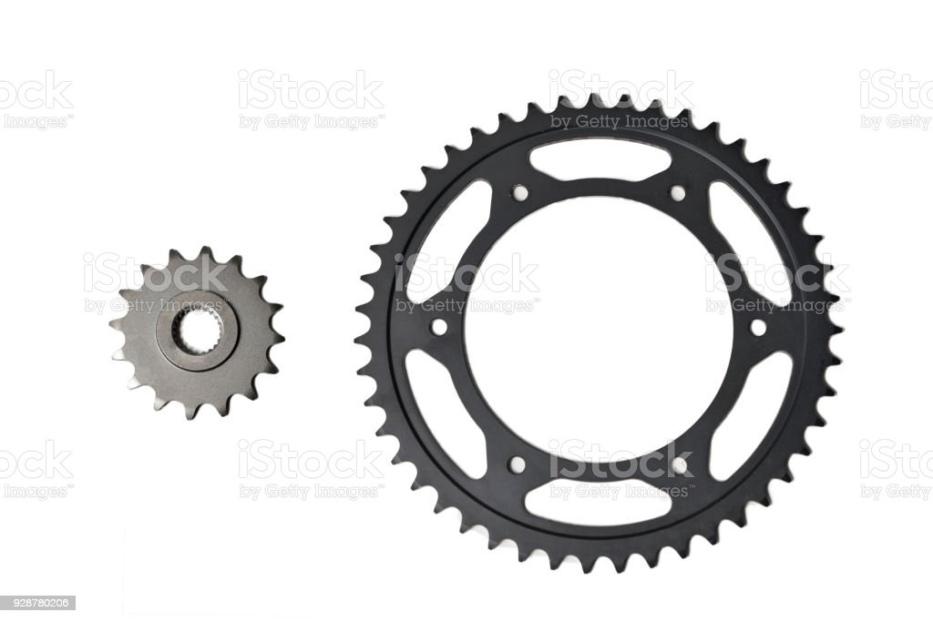 pinion and ring gear for chain motorcycle isolated on white stock photo