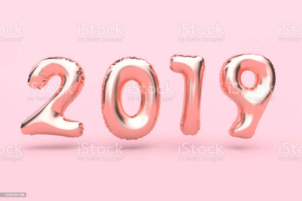 pink 2019 number balloon minimal pink background 3d rendering
