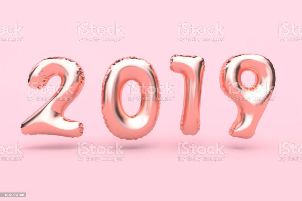 pink 2019 number balloon minimal pink background 3d rendering