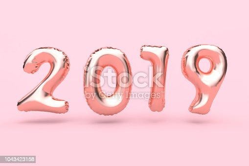 istock pink 2019 number balloon minimal pink background 3d rendering 1043423158